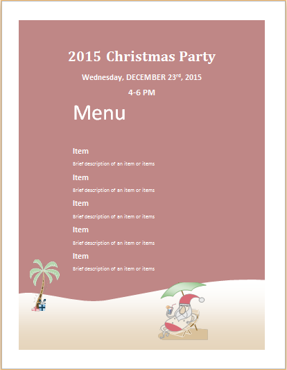 Christmas party menu sheet template