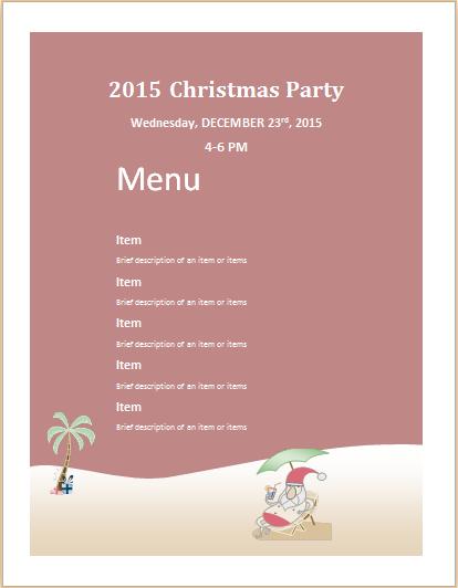 Christmas party menu sheet template