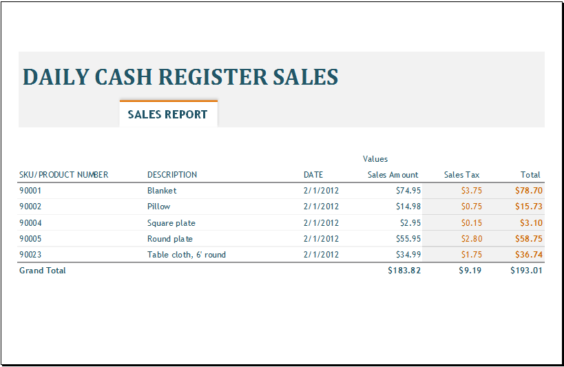 simple sales report