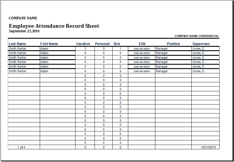 Employee Attendance Record Sheet Template | Word & Excel ...