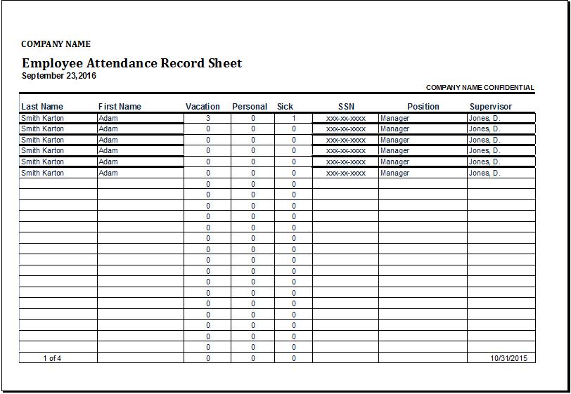 Employee Attendance Record Sheet