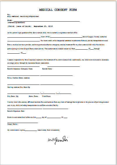 Medical Consent Form Template Ms Word Word Excel Templates