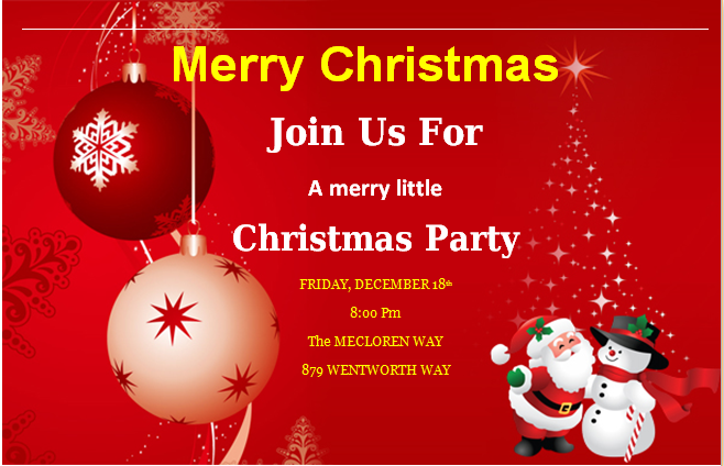 MS Word Merry Christmas Party Invitation Cards – Christmas Party Invitation Card