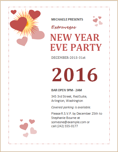 New year event party flyer