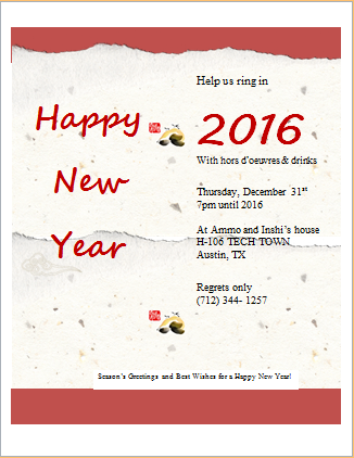 New Year Party Invitation Card Template  Party Invitation Template Word