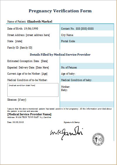 pregnancy verification form