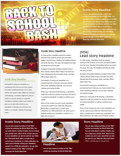 Back to School Newsletter for MS Word