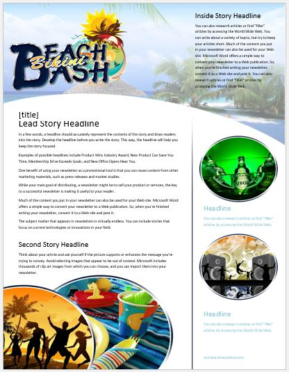 Beach Bikini Party Newsletter for MS Word