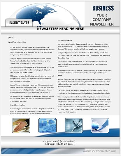 Business Newsletter One Page