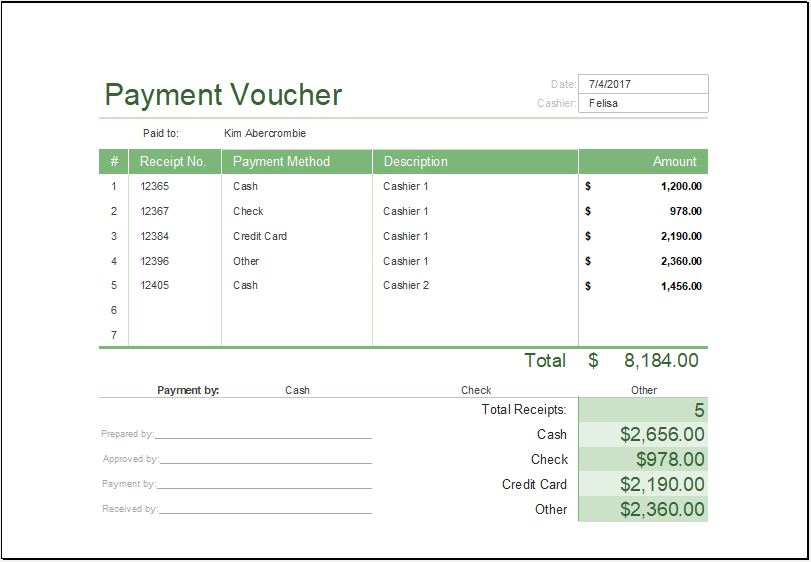 Printable Payment Voucher Template Ms Excel  Word  Excel Templates