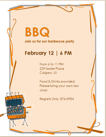 barbecue party invitation template ms word word excel templates