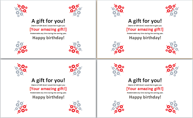Birthday Gift Certificate Template MS Word – Word Gift Card Template