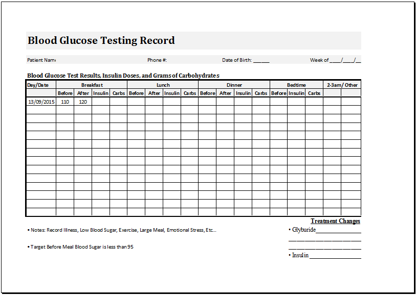 Blood glucose testing record sheet template word amp for Blood sugar log book template