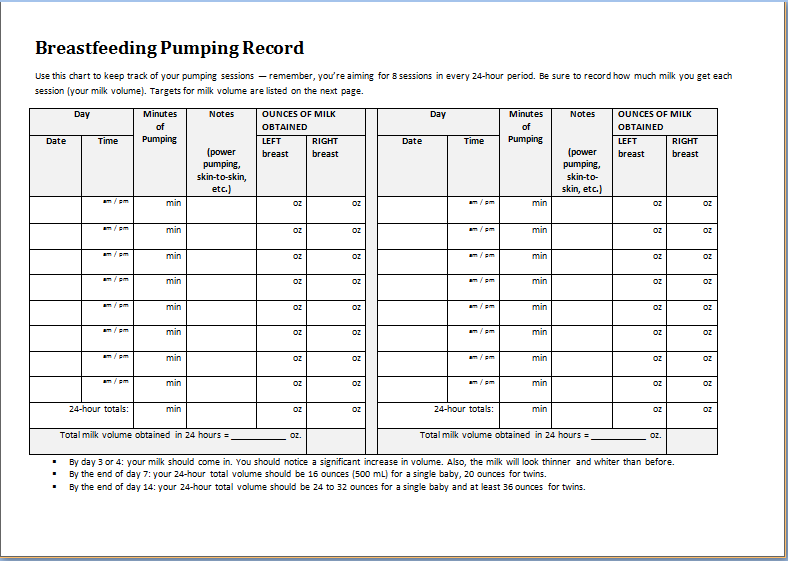 breastfeeding pumping record sheet