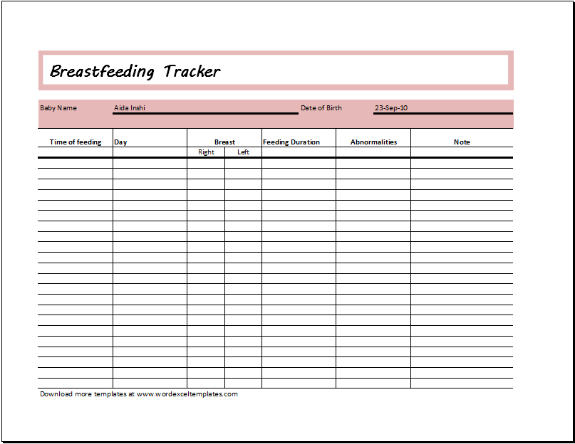 breastfeeding tracker template