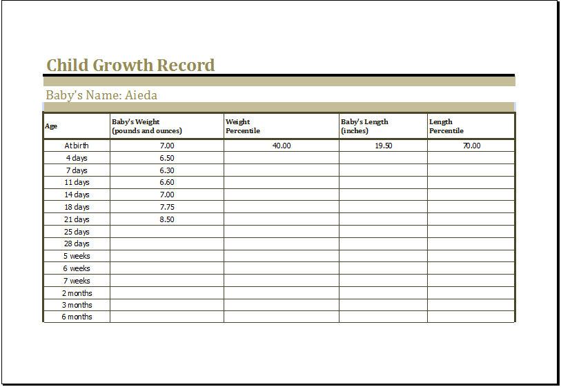 child growth record template