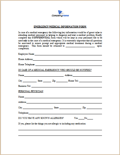 Emergency Medical Information Form  Information Form Template Word