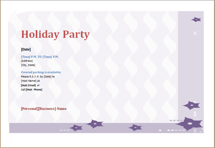 Holiday Party Invitation Template Ms