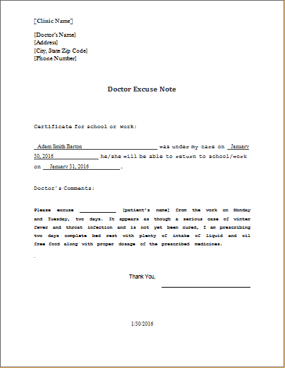 doctor excuse note template ms word