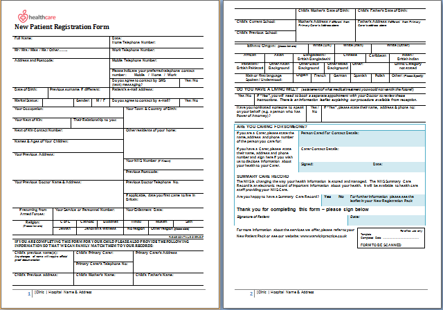 New Patient Information Sheet  Information Form Template Word