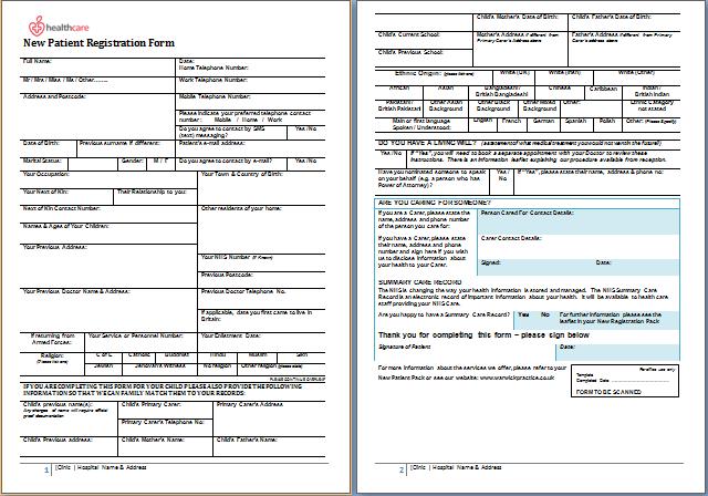New patient information sheet