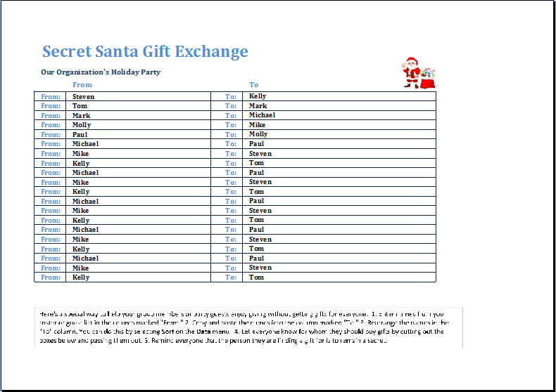 secret Santa gift exchange list template