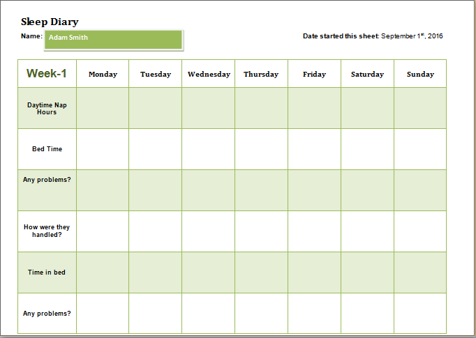 child sleep diary template