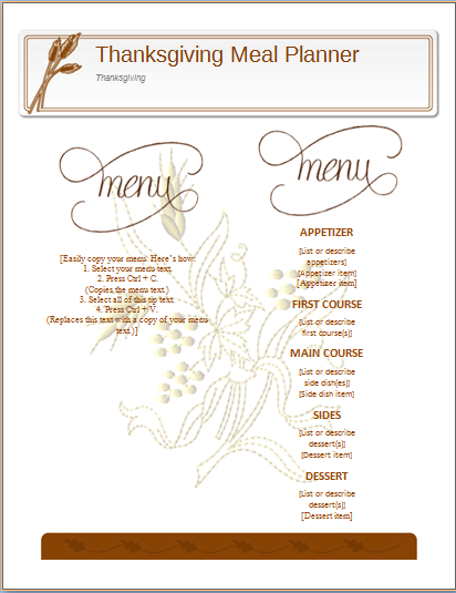 Thanksgiving meal planner template ms word word excel templates thanksgiving meal planner template maxwellsz