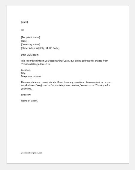 Change of billing address letter to vendors