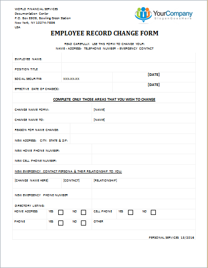 Employee Record Change Form  Address Change Form Template