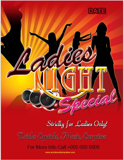 Ladies Night Party Flyer for MS Word