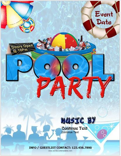 editable printable ms word picnic party flyer template