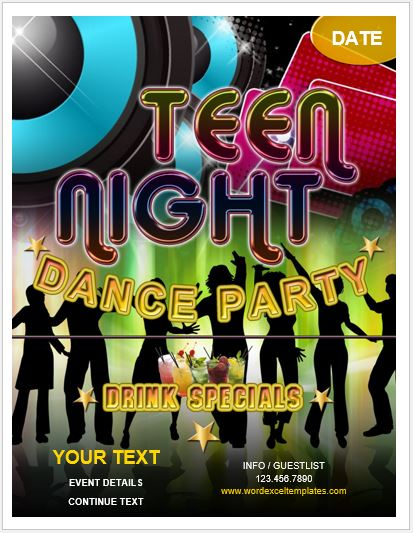 Teen Dance Party Flyer for MS Word