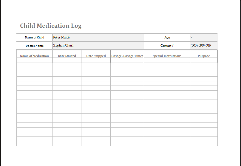 Ms Excel Child Medication Log Template Word Amp Excel
