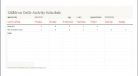 children daily activity schedule