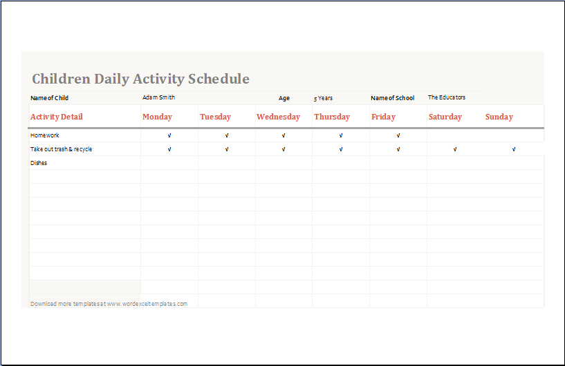 Children daily activity schedule template ms excel word for Activity timetable template