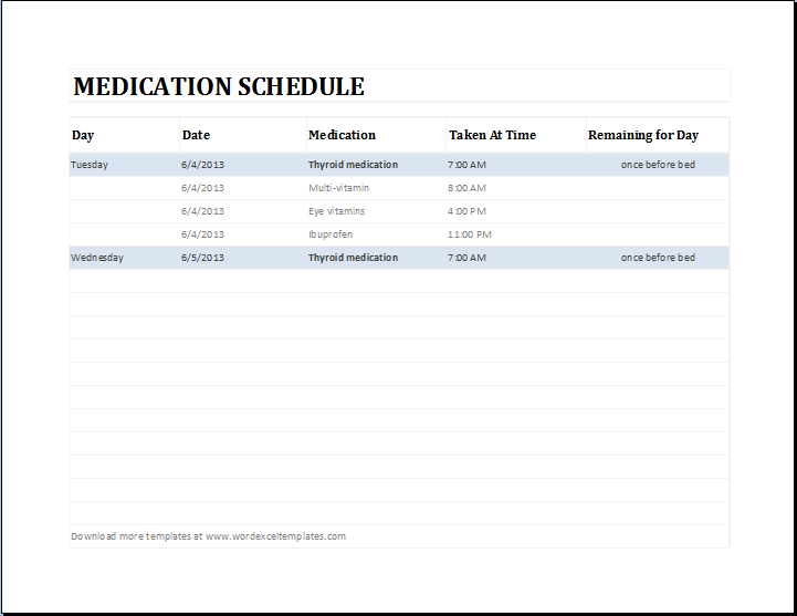 Daily Medication Schedule Template MS Excel | Word & Excel Templates