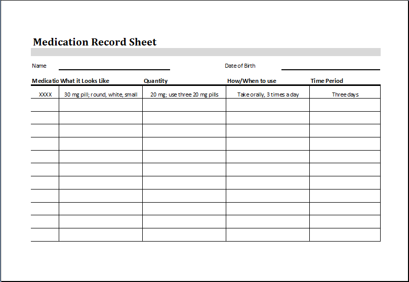 Medication record sheet for Medicine prescription template
