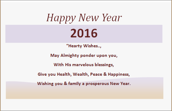 Printable Editable MS Word New Year Greeting Cards