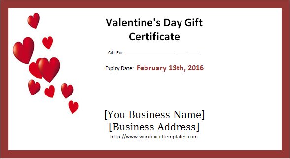 Valentines Day Gift Certificate Word Excel Templates