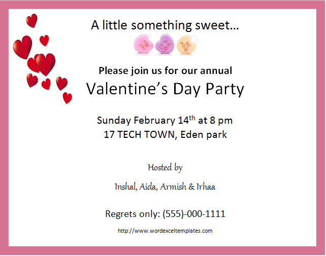 MS Word Valentines Day Party Invitation Cards Word Excel