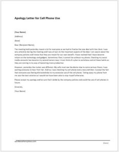 Cell Phone Use Apology Letter