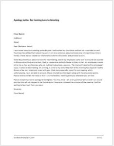 Apology Letter for Coming Late to a Meeting