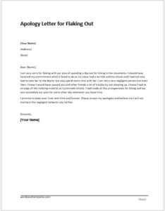 Apology Letter for Flaking Out