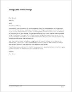 Apology Letter for Hurt Feelings