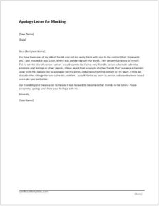 Apology Letter for Mocking