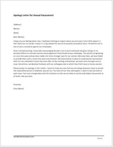 Apology Letter for Sexual Harassment