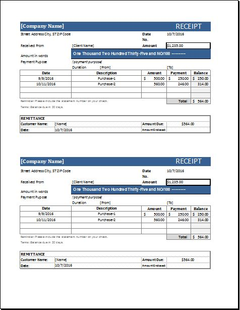 Cash receipt template for Excel