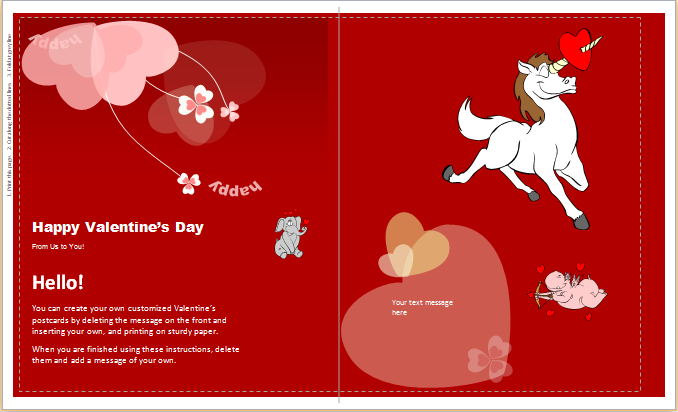 Kids Valentine's Day Wishing Cards | Word & Excel Templates
