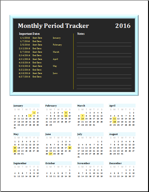 monthly period tracker editable printable ms excel template